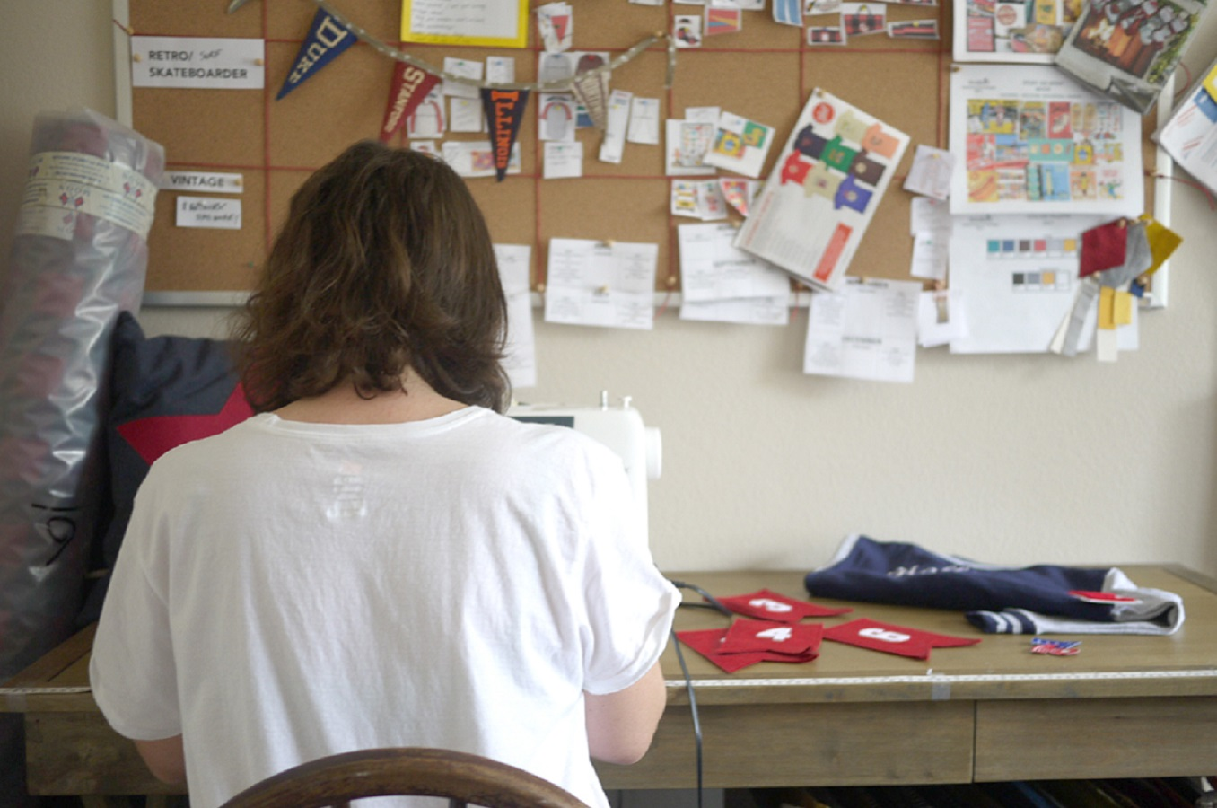 Laura Bonnell The Letterman Co Sewing At The Workbench