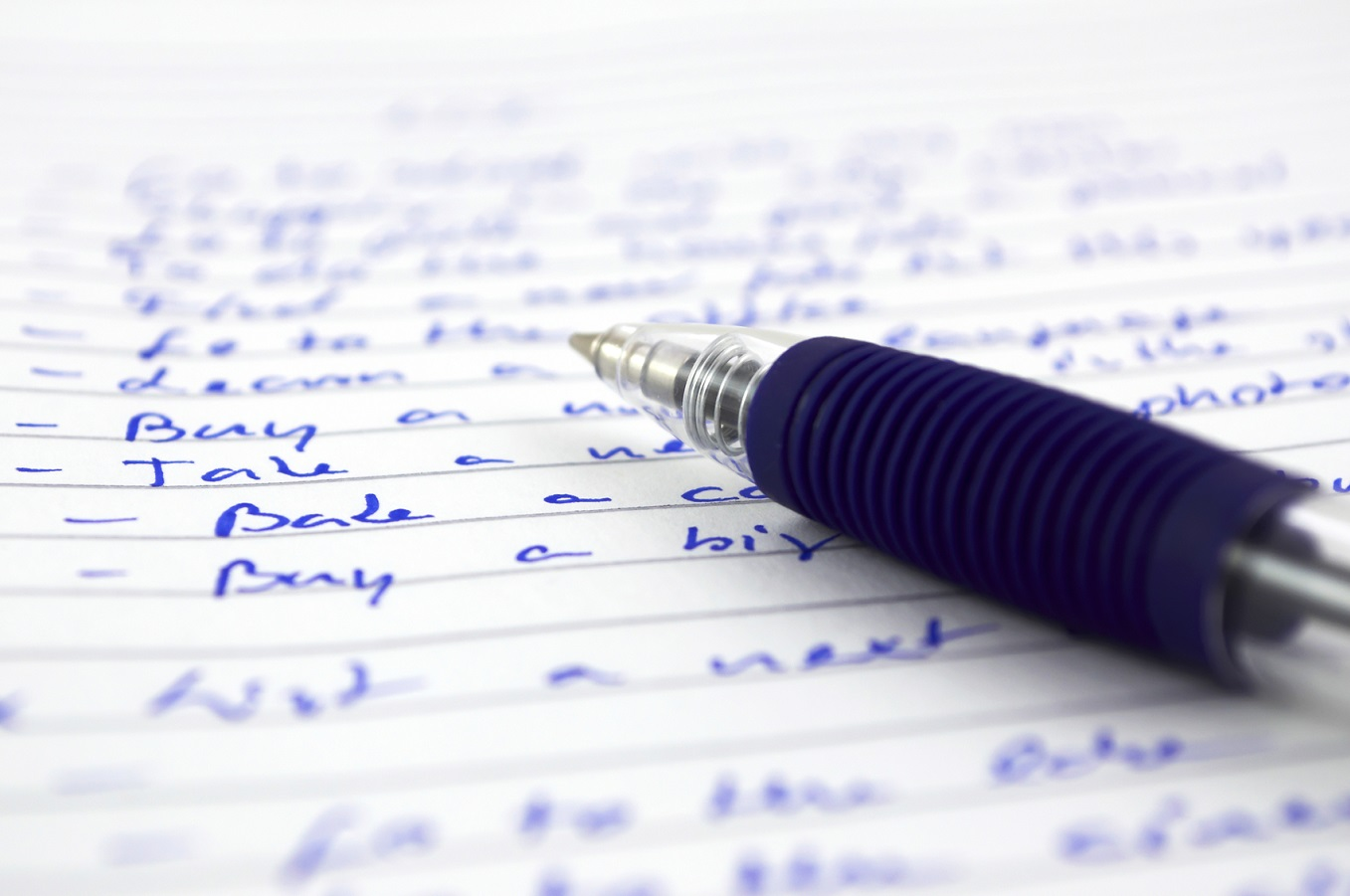 a long to do list - write down your tasks